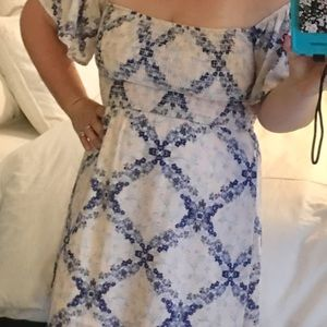 Altair's state blue and pink off shoulder dress